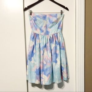 Pastel Watercolor Patterned Strapless Flared Dress